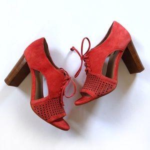 Tahari Megyn coral block heel suede lace bootie
